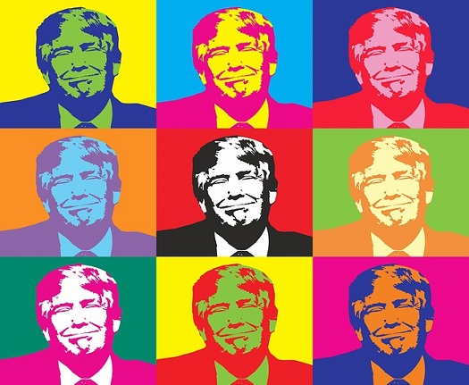 Nine colorful cartoon images of Donald Trump