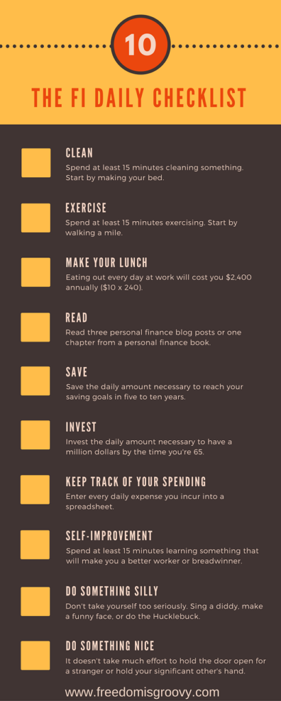 list of 10 things to do daily in order to achieve financial independence