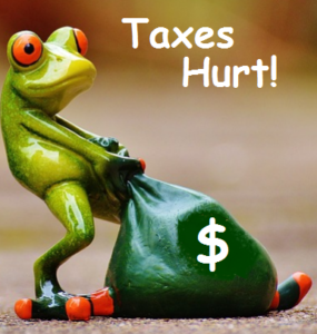 picture of frog dragging his onerous tax payment