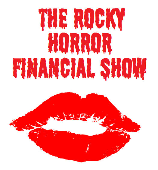 picture of red lips with the caption rocky horror financial show above it