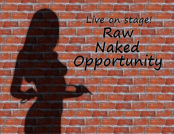 silhouette of a naked woman against a brick wall with the caption: live on stage! raw, naked, opportunity.