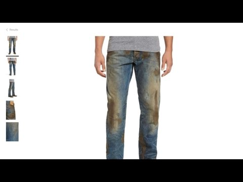 Nordstrom dirty jeans with caked on mud