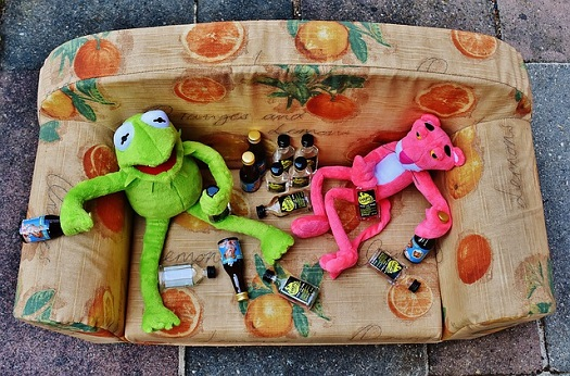 picture of stuff animals passed out on a sofa holding empty bottles of alcohol