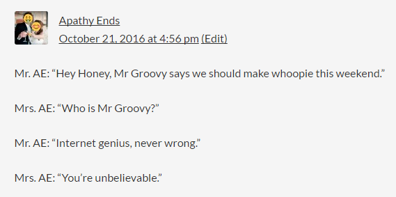 screen shot of Apathy End's reply to Mr. Groovy's make whoopie quote