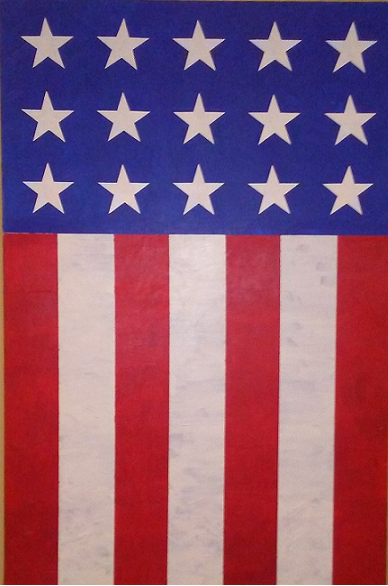 a picture of an American flag that I painted on canvas