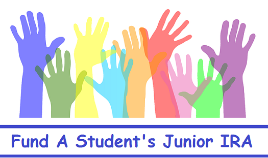 "A picture of hands reaching skyward and a caption underneath the hands reading, ""Fund A Student's Junior IRA"""