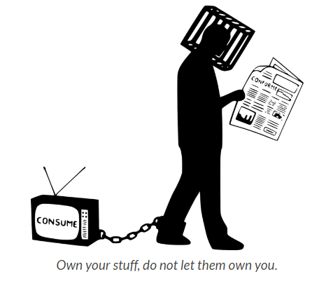 A picture of a man with a cage around his head and a television chained to his ankle