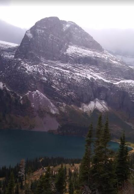 a picture of Grinnell Lake from the Grinnell Glacier Trail