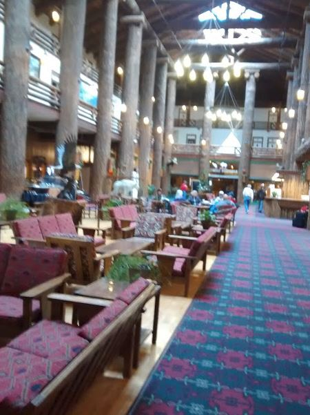 a picture of the lobby of Glacier Park Lodge