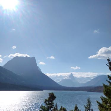 a picture of Saint Mary Lake from Going-to-the-Sun Road