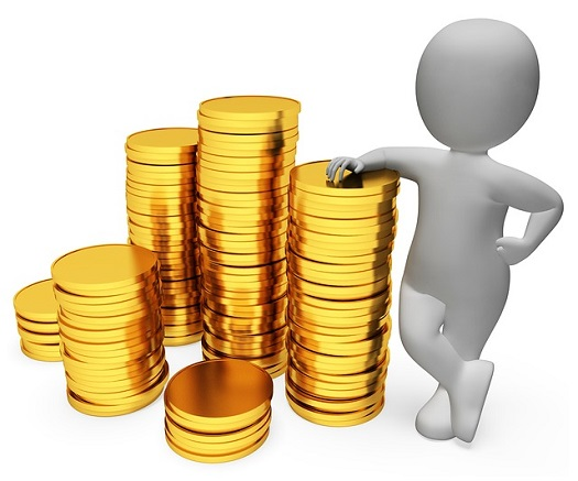 a picture of a bubble person standing next to stacks of gold coins