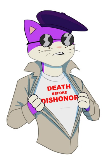 """a picture of Mr. Groovy revealing a """"Death Before Dishonor"""" t-shirt"""